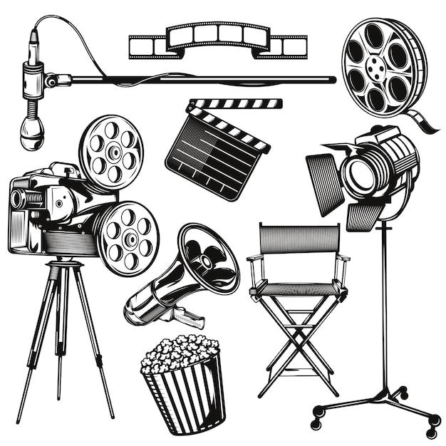 Set cinema-elementen Gratis Vector