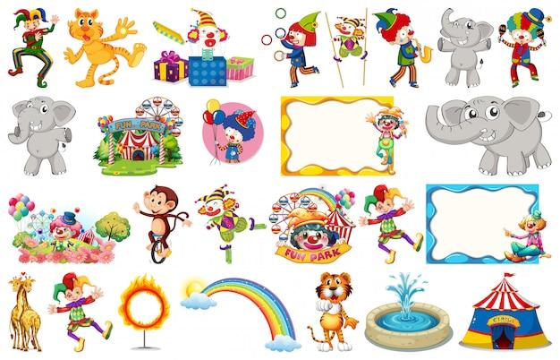 Set circusdieren, personages, objecten en frames Premium Vector