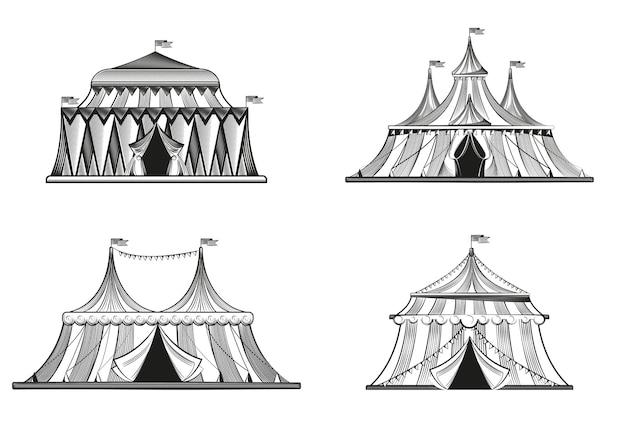 Set circustenten in gravure stijl geïsoleerd op wit Premium Vector