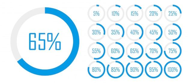 Set cirkelpercentagediagrammen van 0 tot 100 voor webontwerp Premium Vector