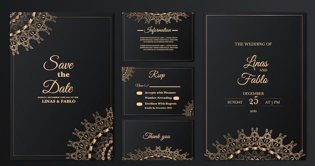 Set collectie luxe bruiloft uitnodiging kaartsjabloon Gratis Vector