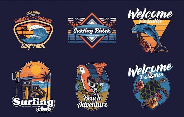 Set collectie vintage print design met zomer, hawaii, californië, surfen, zee, oceaan, tropische dieren, golf, palmen en zinnen. Premium Vector