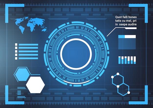 Set computer futuristische infographic elementen en wereld kaart tech abstracte achtergrond sjabloon Premium Vector