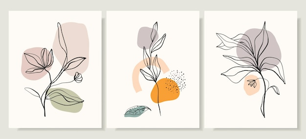 Set covers met bloemen en planten Premium Vector