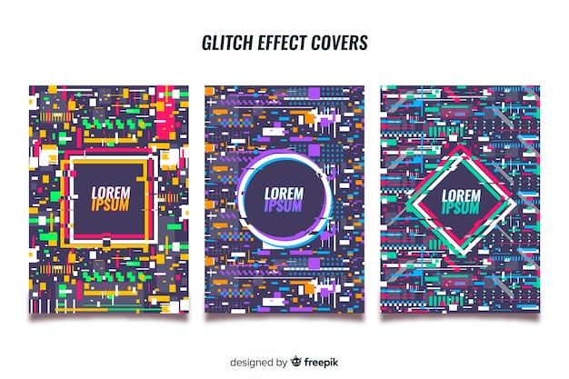 Set covers met kleurrijk glitcheffect Gratis Vector