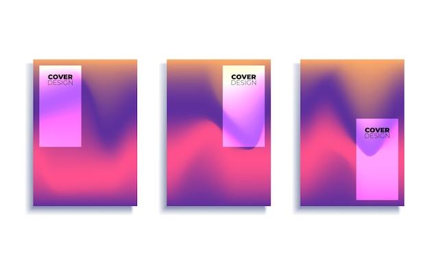 Set covers ontwerpsjablonen met levendige achtergrond met kleurovergang Premium Vector