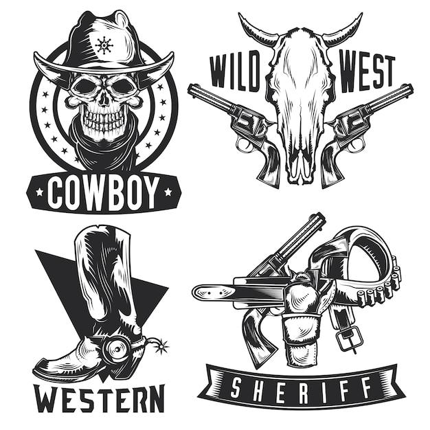 Set cowboy emblemen, etiketten, insignes, logo's. geïsoleerd op wit Gratis Vector