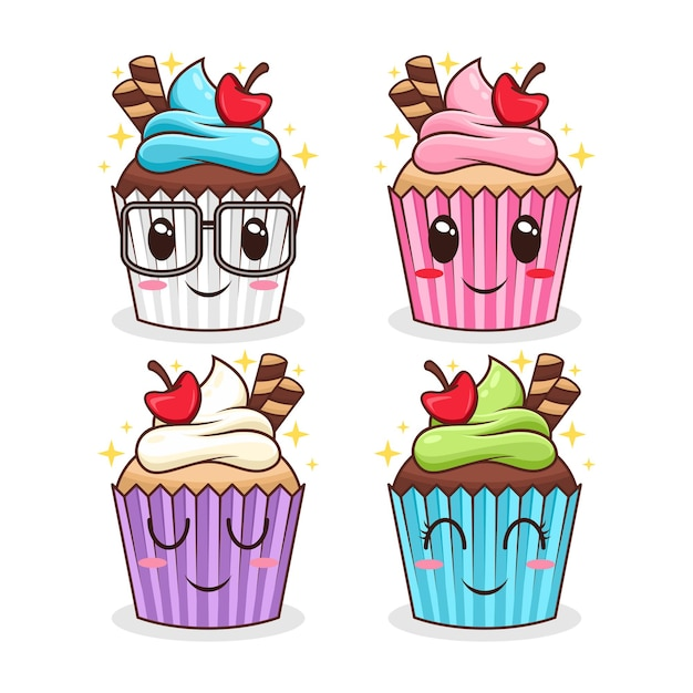 Set cupcake karakter cartoon afbeelding Premium Vector