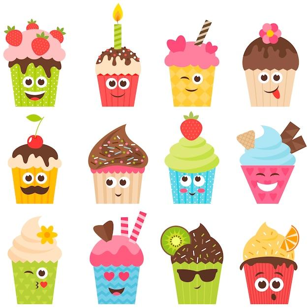 Set cupcake smileys op wit Premium Vector