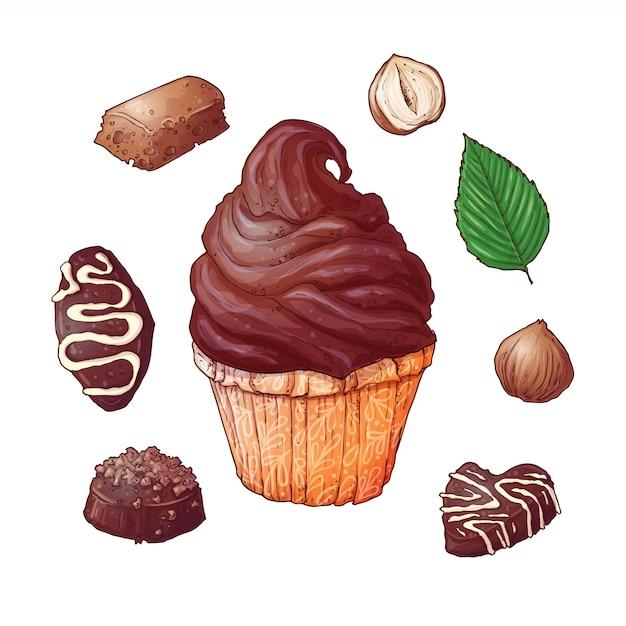 Set cupcakes chocolaatjes einde noten, hand tekenen. vector Premium Vector