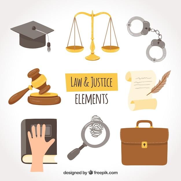 Set de elementos de derecho y justicia Gratis Vector