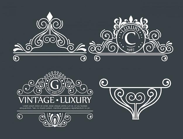 Set decoratieve decoratie voor frames of etiketten Gratis Vector