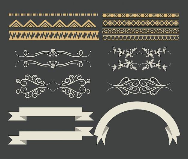 Set decoratieve lint cartoon Gratis Vector