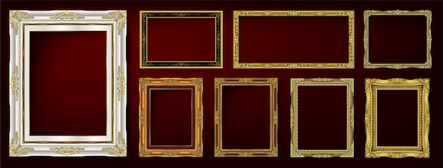 Set decoratieve vintage frames en randen instellen Premium Vector