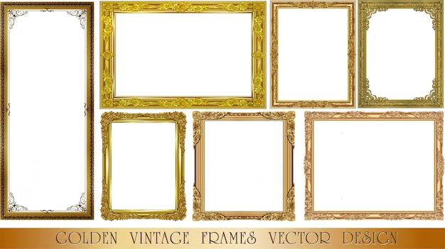 Set decoratieve vintage frames instellen Premium Vector