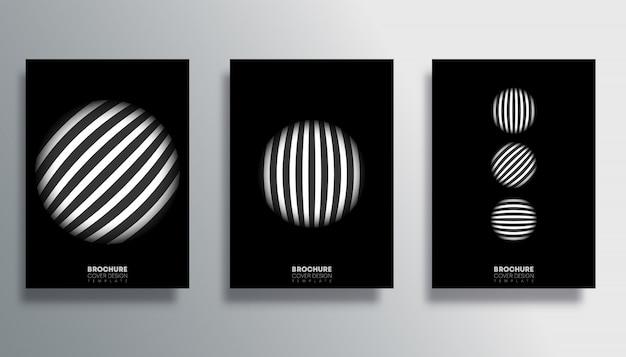 Set dekking met gestreepte cirkel poster set Premium Vector
