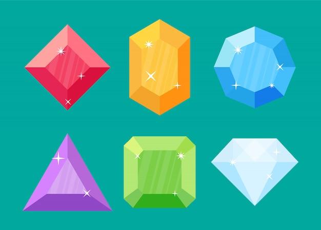 Set diamanten in verschillende vormen. Premium Vector