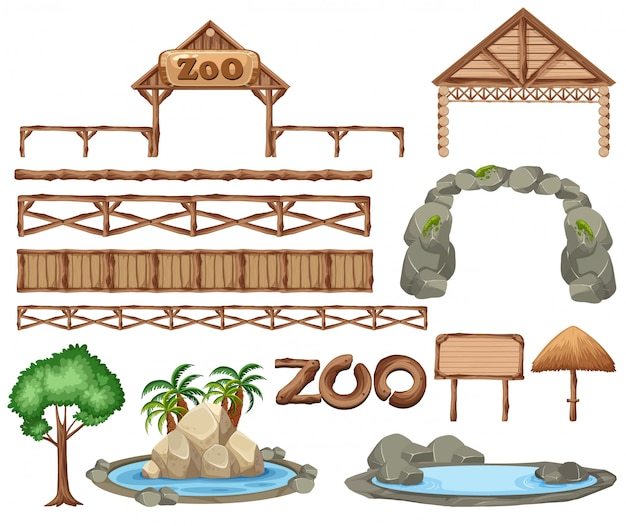 Set dierentuin elementen Premium Vector