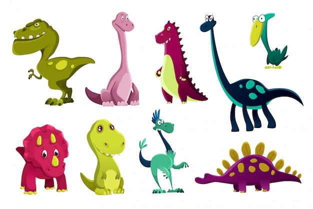 Set dinosaurussen baby, schattige print. zoete dino's. koele kleine dinosaurussenillustratie voor kinderdagverblijft-shirt, kinderkleding, uitnodiging, eenvoudig skandinavisch kindontwerp Premium Vector