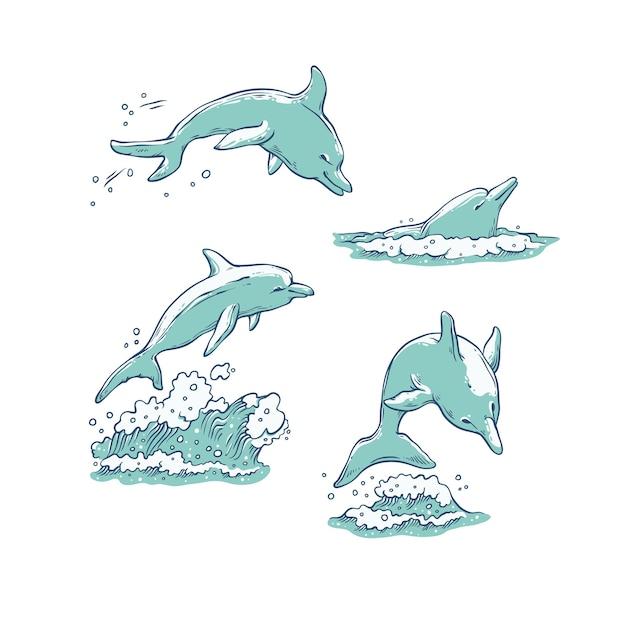 Set dolfijnen springen, duiken en zwemmen. Premium Vector