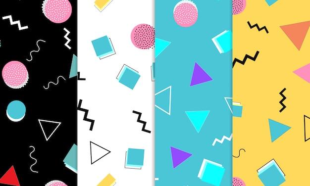 Set doodle fun naadloze patronen. zomer doodle achtergrond. naadloze jaren 90. memphis patroon. illustratie. hipster-stijl 80s-90s. abstracte kleurrijke funky achtergrond. Premium Vector