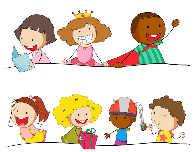 Set doodle kinderen karakter Gratis Vector