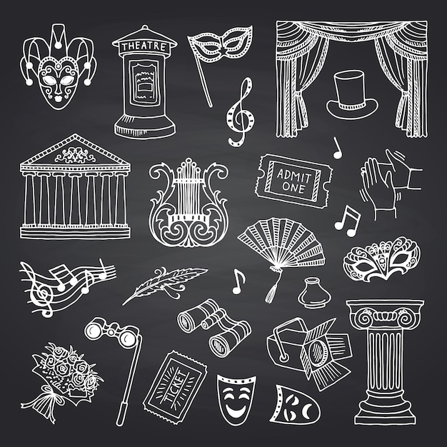 Set doodle theater elementen op zwart schoolbord Premium Vector