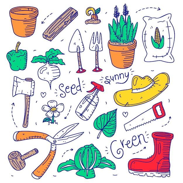 Set doodle tuinieren object element hand getrokken stijl Premium Vector