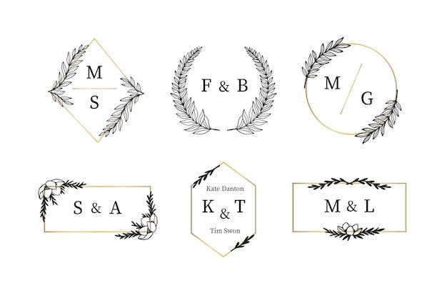 Set elegante bruiloft monogrammen Gratis Vector