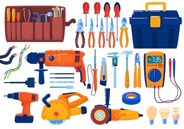 Set elektrisch gereedschap, uitrusting, tang voor het strippen van draad, draadscharen, schroevendraaiers en multimeter, illustratie van elektrische tape. Premium Vector