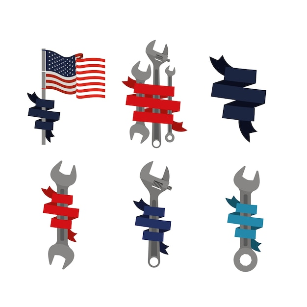 Set elementen symbool happy labour day with ribbon decorative Premium Vector