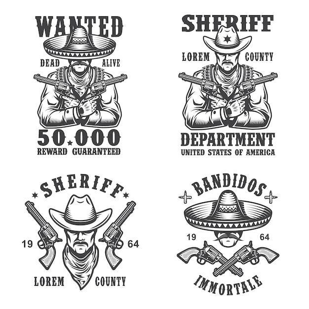 Set emblemen, etiketten, insignes, logo's en mascottes van sheriff en bandiet. monochrome stijl. Gratis Vector