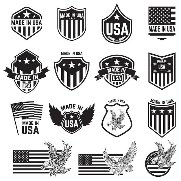 Set emblemen met amerikaanse borden. elementen voor poster. kaart, teken. illustratie Premium Vector