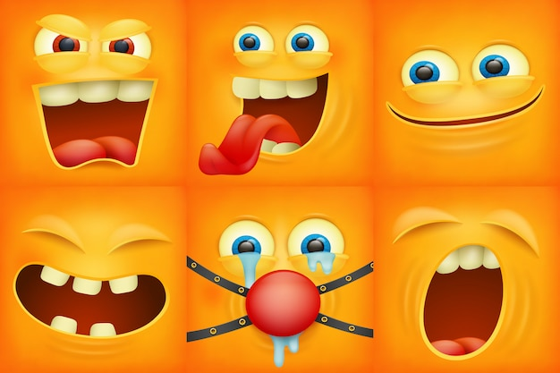 Set emoticons gele gezichten emoji tekens vierkante pictogrammen Premium Vector