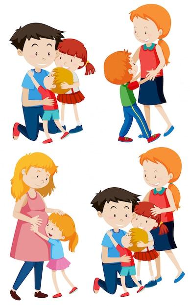 Set familiescènes Gratis Vector