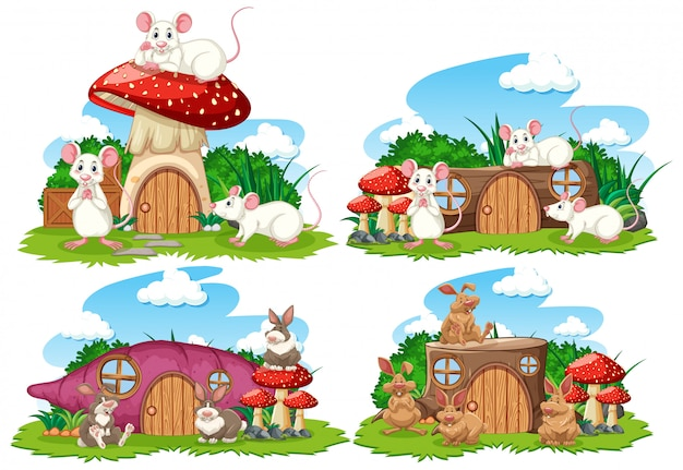 Set fantasie huizen in de tuin met schattige dieren geïsoleerd op een witte achtergrond Premium Vector