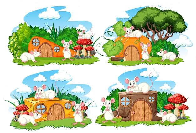 Set fantasie huizen in de tuin met schattige dieren geïsoleerd op een witte achtergrond Gratis Vector