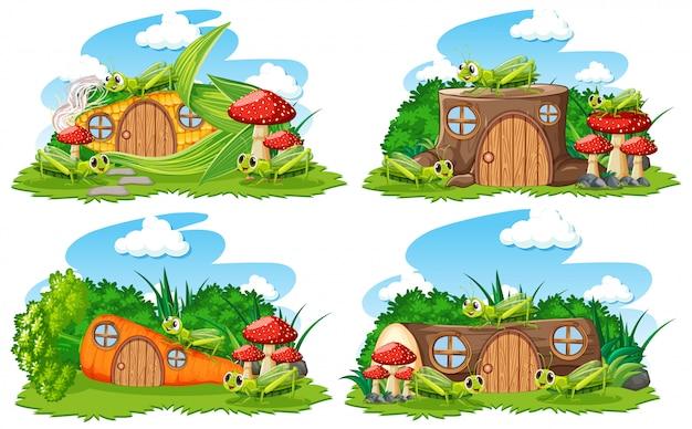 Set fantasie huizen in de tuin met schattige dieren op witte achtergrond Premium Vector