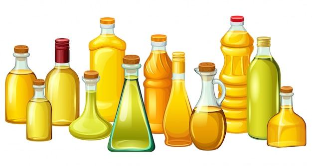 Set flessen met plantaardige oliën. Gratis Vector