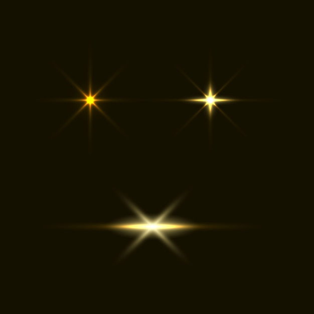 Set flitsen, lichten en vonken. abstracte gouden lichten geïsoleerd op een transparante achtergrond. helder goud flitst en schittert Premium Vector