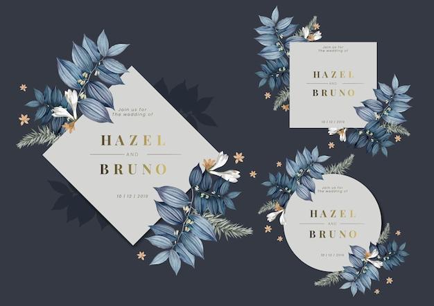 Set floral bruiloft frame ontwerp vectoren Gratis Vector