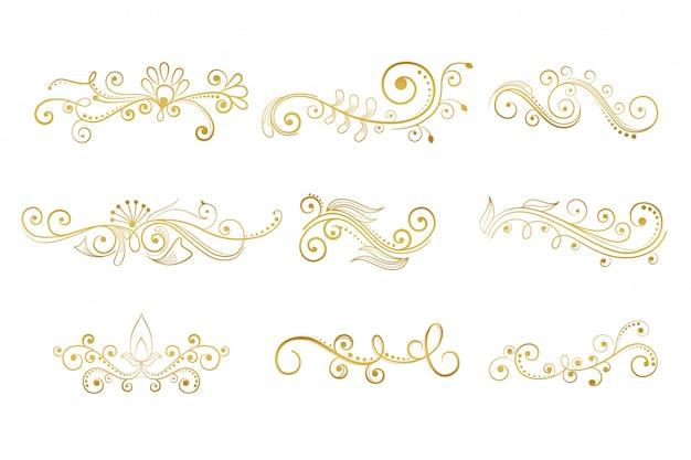 Set floral decoratieve elementen in gouden kleur Gratis Vector