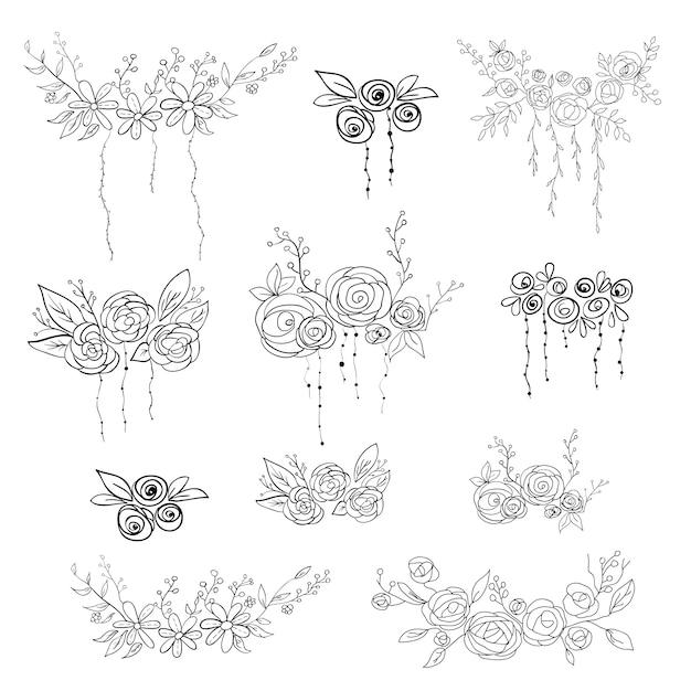 Set floral elementen. vector illustratie. Premium Vector