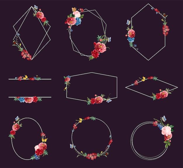 Set floral frame illustraties Gratis Vector