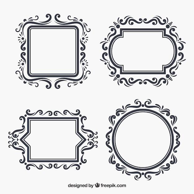 Set floral frames in vlakke stijl Gratis Vector