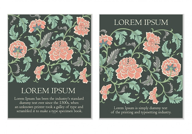 Set floral kaarten Premium Vector