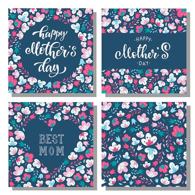 Set floral moederdag kaarten Premium Vector