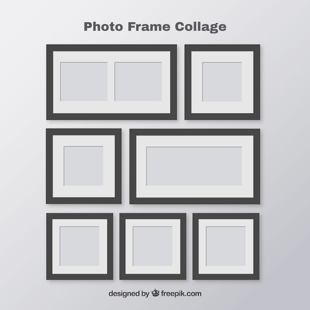 Set fotolijst collage Gratis Vector