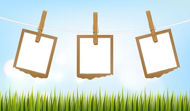 Set fotolijsten op het touw met wasknijper, fotolijsten Premium Vector