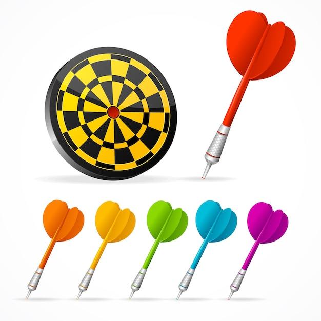 Set gekleurde darts en doel. Premium Vector